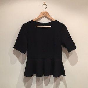 Black peplum short sleeve dressy top
